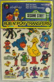 Colorforms 1986 rub n play transfers set sesame 1