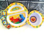 Sesame Street Elmo Cookie Monster bowl and plate The First Years 2007