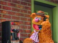 Fozzie Bear on the phone