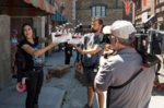 """Action! Crewmembers prepare to film """"The Accident""""."""