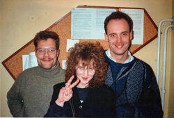"""Crown of Creation bei den Aufnahmen für die Debüt-CD """"Real Life"""" 1993 im SUONO-TONSTUDIO in Bückeburg. Von links: Thomas Czacharowski, Nicole Sukar, Matthias Blazek."""