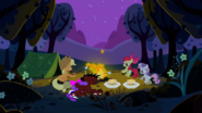 Applejack, Apple Bloom and Sweetie Belle sitting around the campfire S2E05 (1)