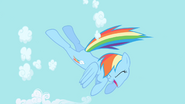 Rainbow Dash begins to clear the sky S1E01