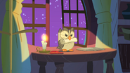 Owloysius with Twilight Sparkle's scroll S1E24