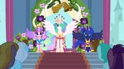 Celestia, Luna, and Cadance in coronation attire S03E13.png