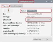 Raspbian Dateieigenschaften Allgemein