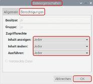 Raspbian Dateieigenschaften Berechtigungen