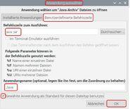 Raspbian Dateieigenschaften Benutzerdefinierte Befehlszeile