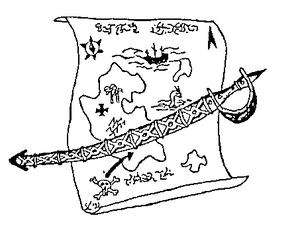 Piraten-Karte einer Insel