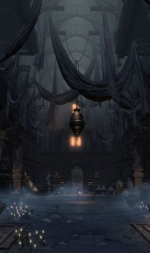 A dark church-like structure with black cloth draped from the ceiling. It is lit only by groups of candles scattered around the floor.