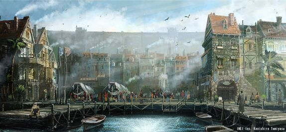 The docks of Estvale lined with tall, narrow buildings. A large stone wall rises up in the distance.