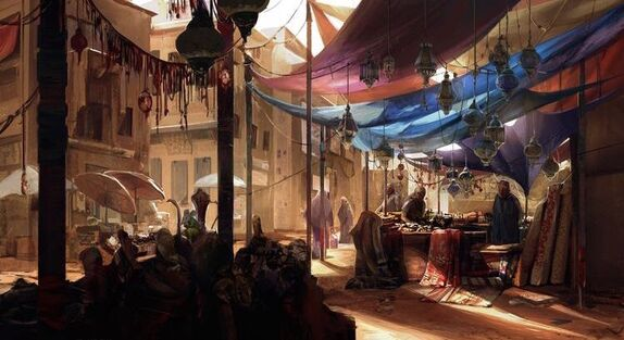 Sandstone buildings crowd a sunny street as vendors sell wares under the shade of colorful cloth awnings.