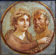 Affresco romano - eracle ed onfale - area vesuviana