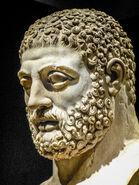 Head from statue of Herakles (Hercules) Roman 117-188 CE from villa of the emperor Hadrian at Tivoli, Italy BM 2