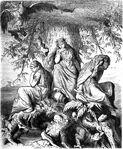 Die Nornen Urd, Werdanda, Skuld, unter der Welteiche Yggdrasil by Ludwig Burger