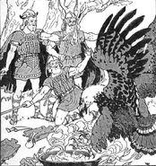 Óðinn, Loki, Hœnir and Þjazi by Frederick Richardson