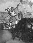 Þórr attacks Skrýmir by Edward O. Davey