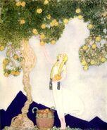 Iðunn gathers golden apples by Willy Pogány