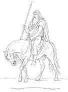 Odin holding Gungnir atop Sleipnir by Frølich