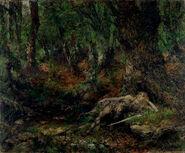 Ferdinand Leeke Der junge Siegfried im Wald an einer Quelle