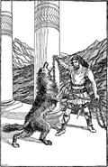 Thor Chaining Fenrir by H. L. M