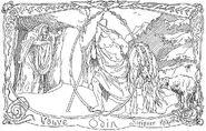Völva, Odin, Sleipnir and Helhound by Frølich