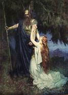 Brunhilde knelt at his feet