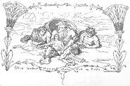 Odin, Lodur, Hoenir skabe Ask og Embla by Frølich