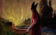 As the flames rise Óðinn leaves