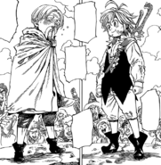 Meliodas and Cain preparing for their Byzel Fight Festival battle