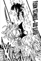 Meliodas using Combined Technique God Slayer on the Demon King
