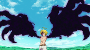 Meliodas forming claws from the black mark