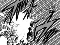 Cain hitting Meliodas with a fire ball