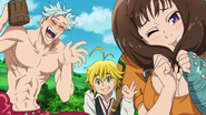 Diane, Meliodas and Ban saying their lost their sacred weapons