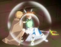 Yuuno treating Nanoha's wounds