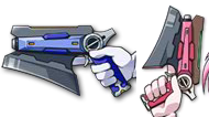 Amitie's blue-frame Variant Zapper (left) and Kyrie's red-frame Variant Zapper (right)
