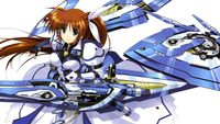 Nanoha equipped with Fortress and Strike Cannon in Force