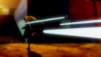 Stinger Ray being shot at Fate Testarossa in The MOVIE 1st