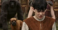 A gorilla standing beside a dog brhind Edmund at the arrival of Jadis and her army