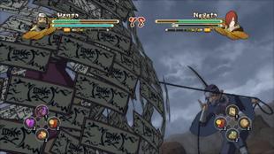 Hanzō prende seu oponente com sua kusarigama e papéis explosivos…