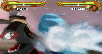 …em seguida Kisame vai em direção ao clone e ao oponente e corta-os com a Samehada…