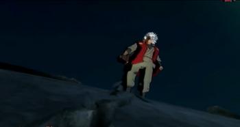 Jiraiya golpea el suelo con el pie provocando una fisura