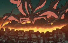 The Nine-Tailed Demon Fox attacking Konoha.
