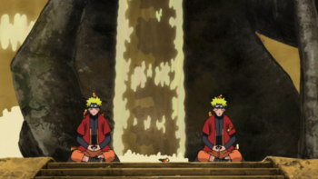 With the shadow clones at Mount Myōboku...