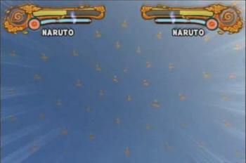 Naruto crea incontables clones en el aire...