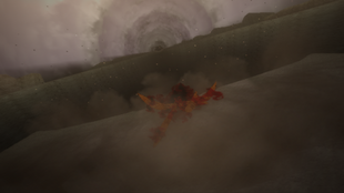 …deixando uma enorme cratera no chão.