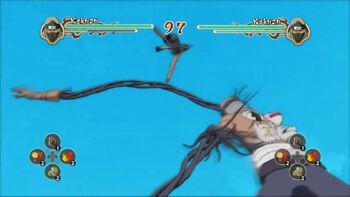 Kakuzu manda a volar a su oponente...