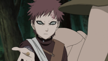 Gaara prepares a single, tiny bullet out of sand…