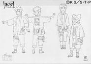 Arte Pierrot - Naruto, Hinata e Chōji, com trajes do Time de Escolta dos Mascates