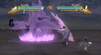 Sasuke activa su Susanoo y golpea el suelo con su Espada de Kagutsuchi...